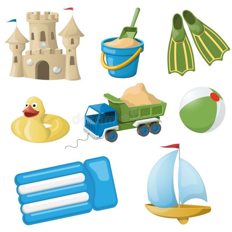 套孩子的五颜六色的玩具 也corel凹道例证向量 免版税库存图片