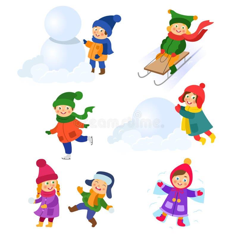 套孩子,享受冬天活动的孩子 向量例证