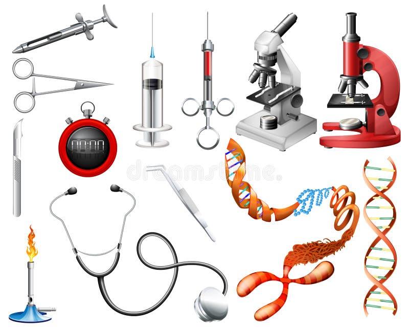 套实验室工具和设备 库存例证