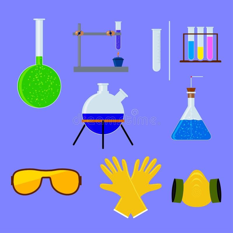 套实验室烧瓶和试管用个体防护用品 也corel凹道例证向量 库存例证