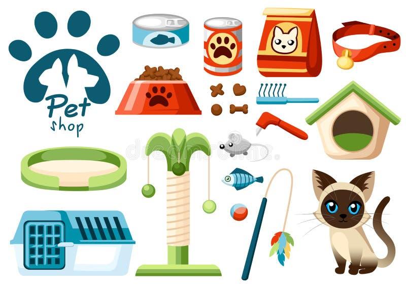 套宠物店象 猫的辅助部件 平的例证 饲料,玩具,碗,衣领 宠物店的产品 向量 皇族释放例证