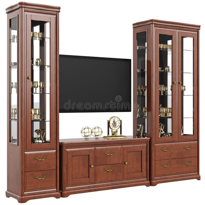 套家具餐具柜和梳妆台 向量例证