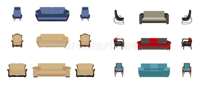套家具 现代平的样式传染媒介例证 库存例证