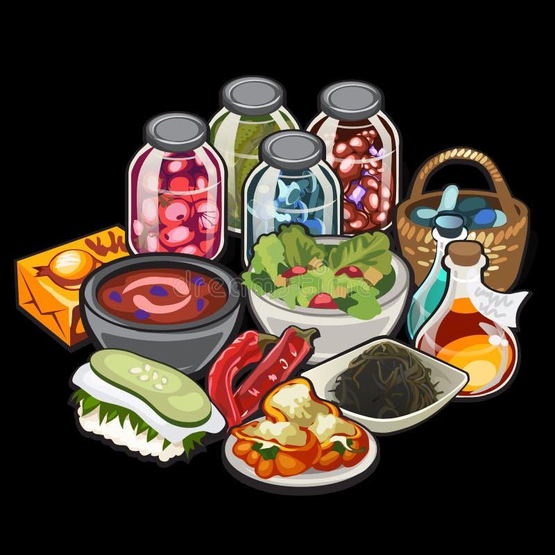 套家庭烹饪和装于罐中菜 向量例证