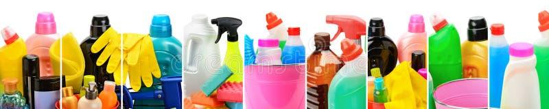 套家用化工产品、桶和刷子清洗的isol 库存图片