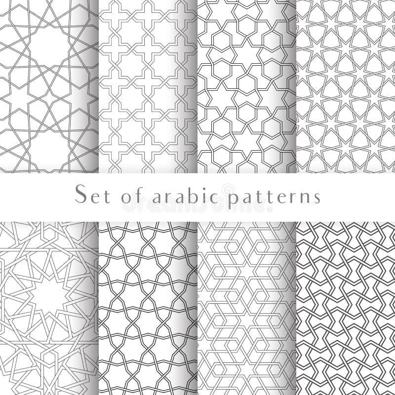 套对称抽象在阿拉伯样式的传染媒介伊斯兰教的传统背景被做装饰几何形状 皇族释放例证