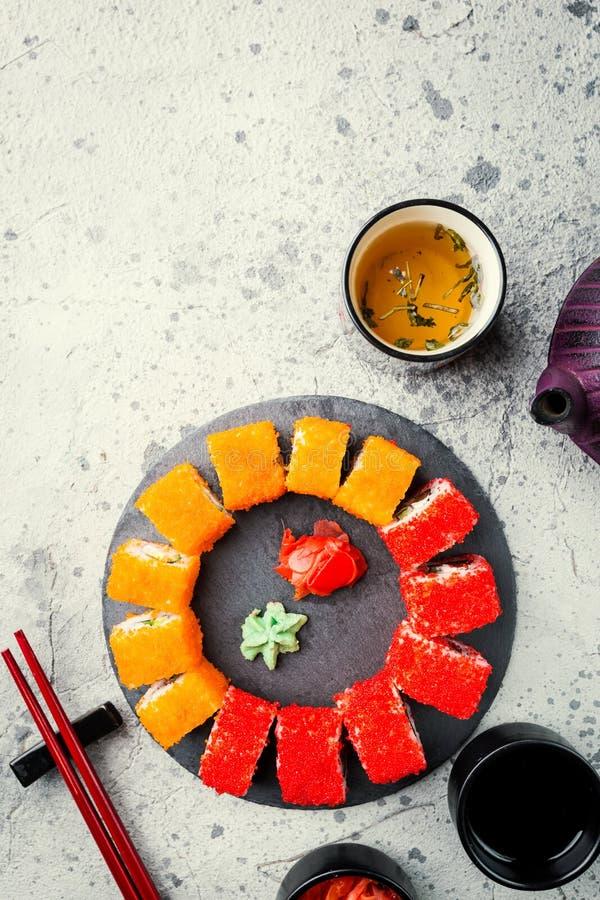 套寿司或maki卷 免版税库存图片