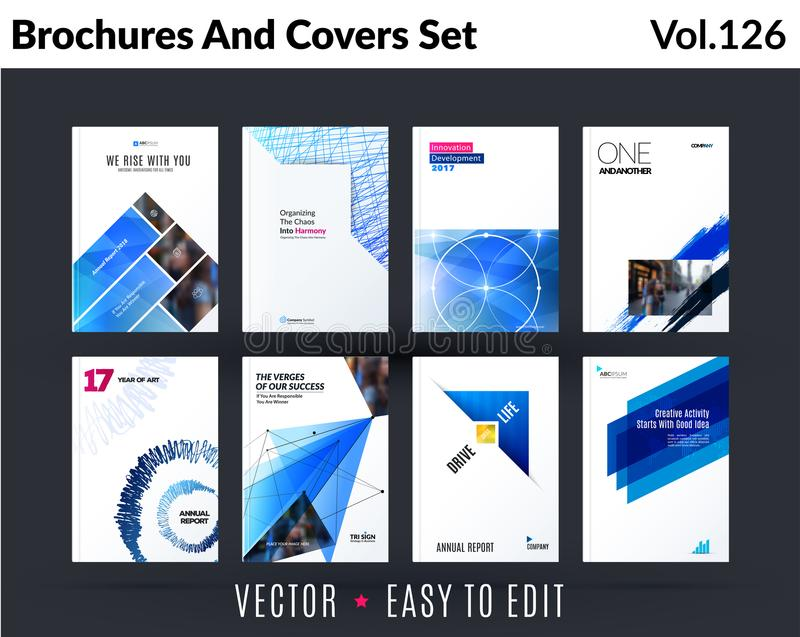 套小册子设计,抽象年终报告,包括现代布局,飞行物 库存例证