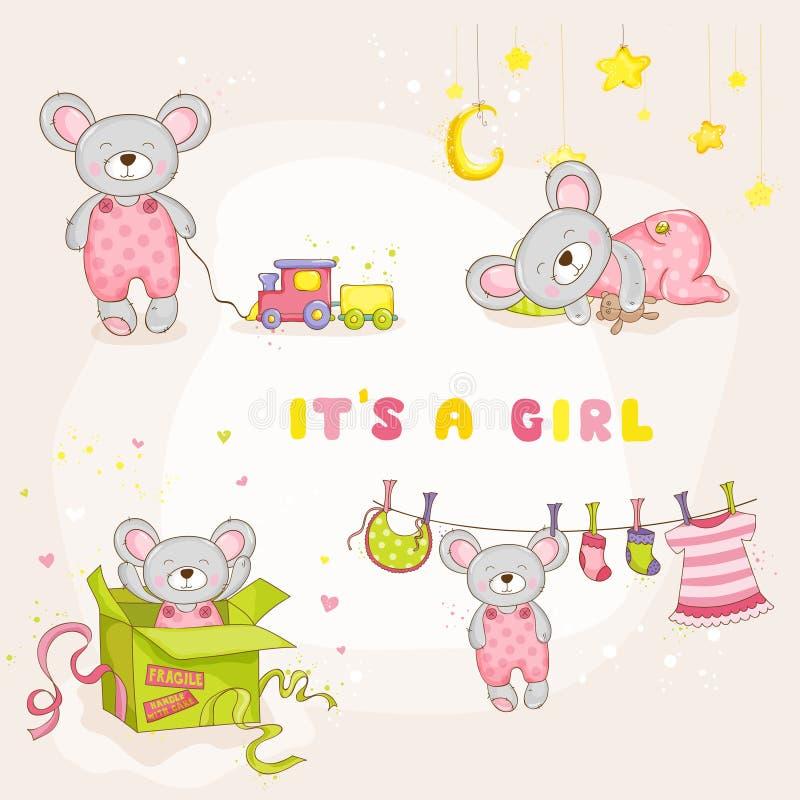 套小老鼠-婴儿送礼会或更改地址通知单的 库存例证