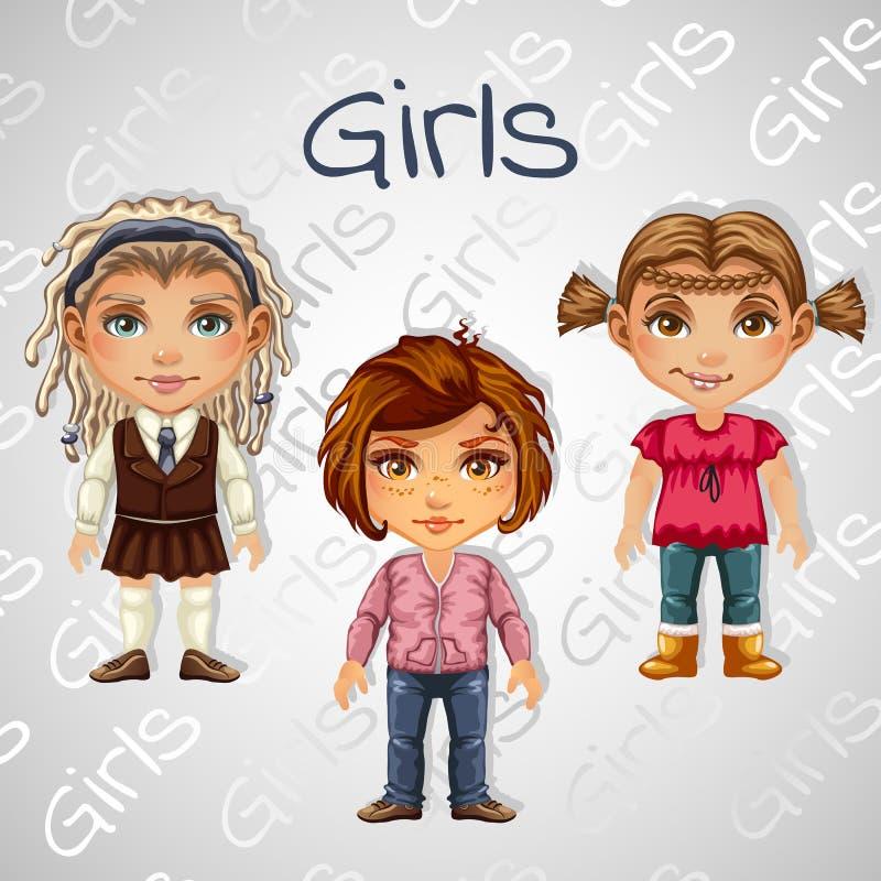 套少年女孩的树图象动画的 库存例证