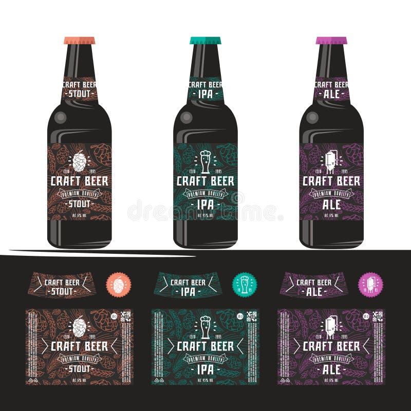 套工艺啤酒的模板标签 皇族释放例证