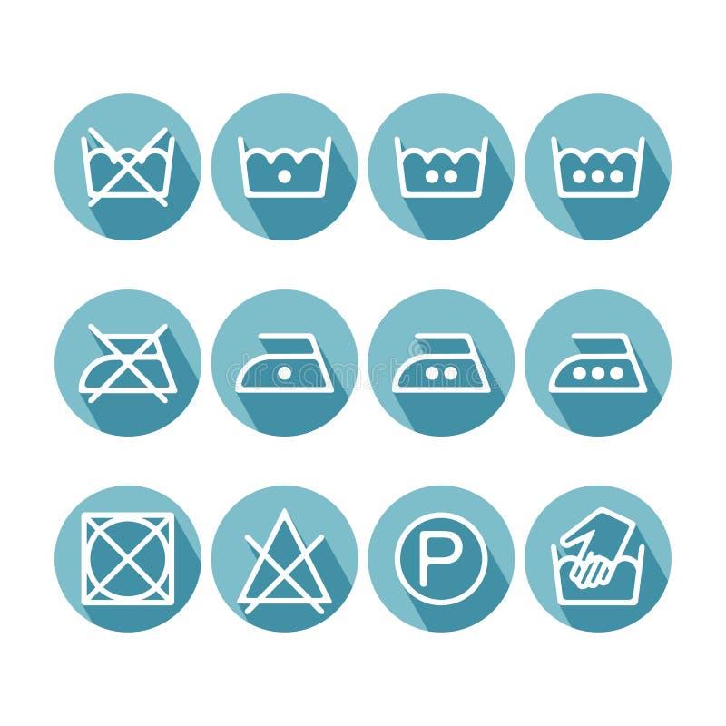 套平的指示洗衣店象,洗涤的标志 向量例证