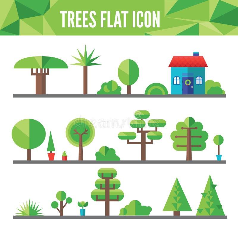 套平的树和草 库存例证