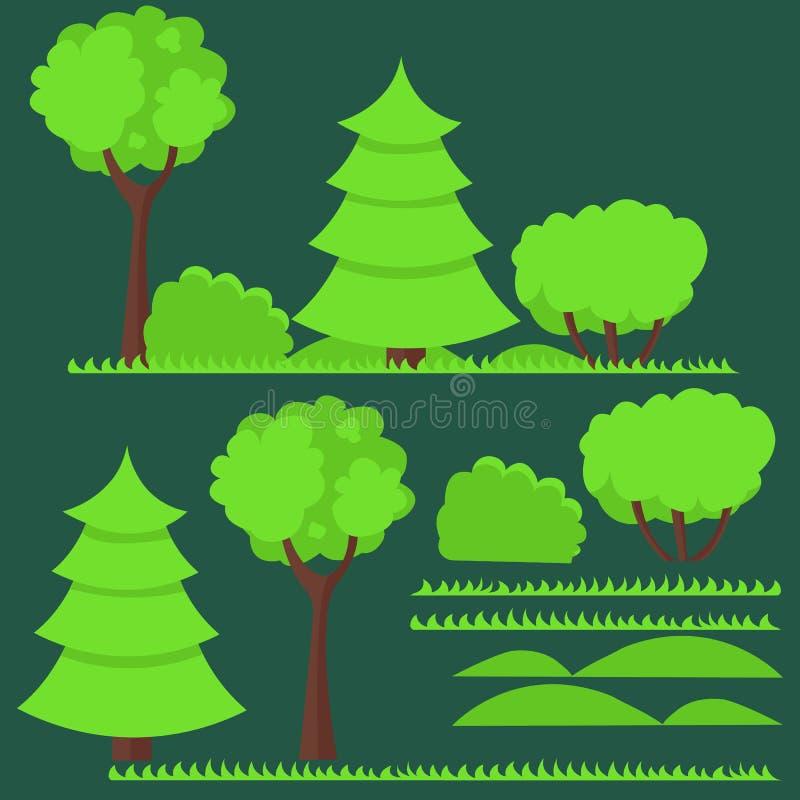 套平的树和 皇族释放例证