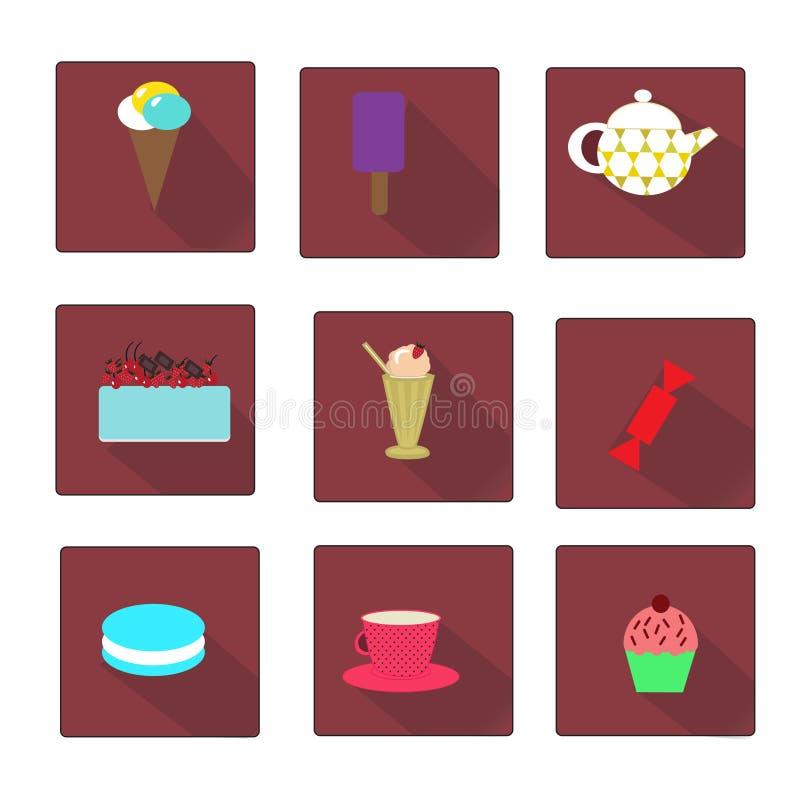 套平的样式甜点象 向量例证