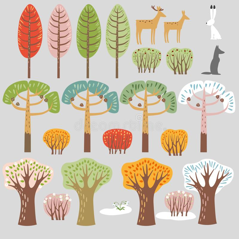 套平的森林元素 树和动物 秋天夏天,冬天,春天树,灌木 库存例证