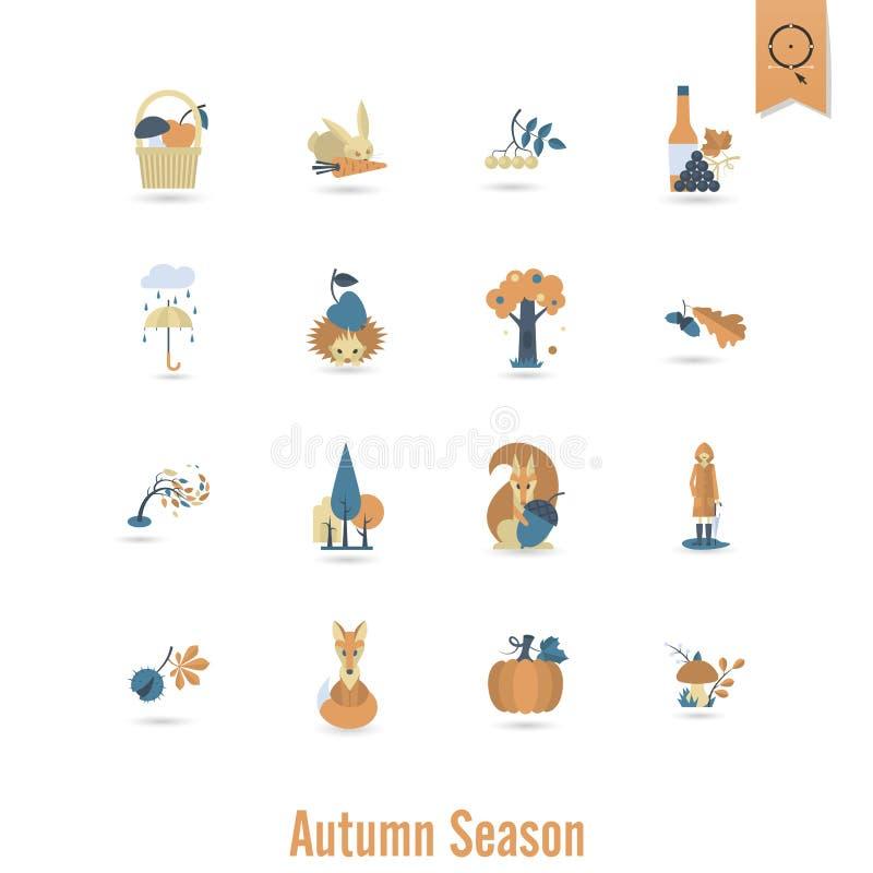 套平的秋天象 向量例证