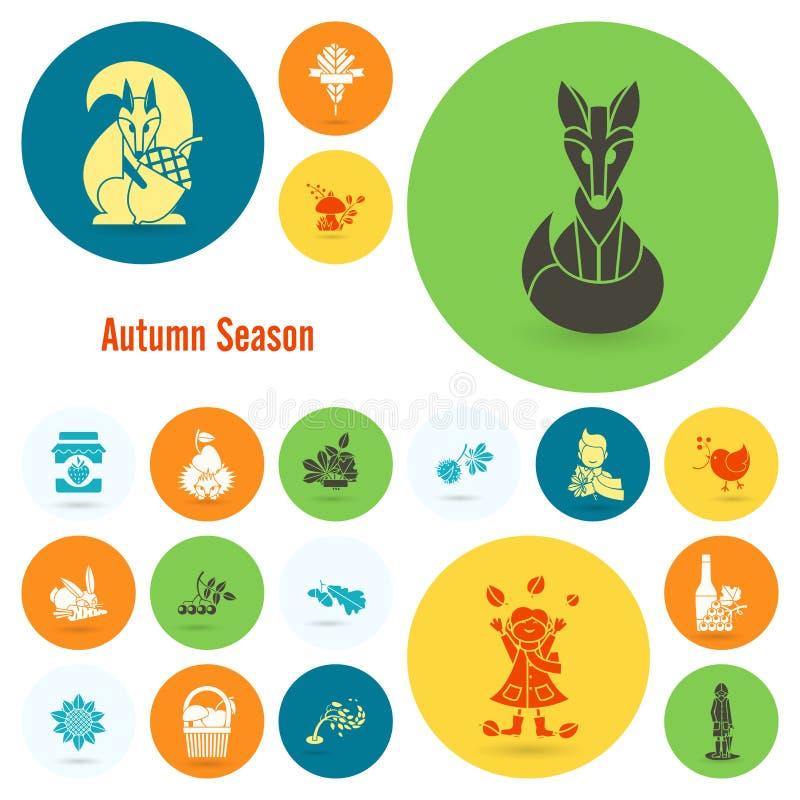 Download 套平的秋天象 向量例证. 插画 包括有 对象, bataan, 申请人, 设计, 平面, 万圣节, 狐狸 - 59107231