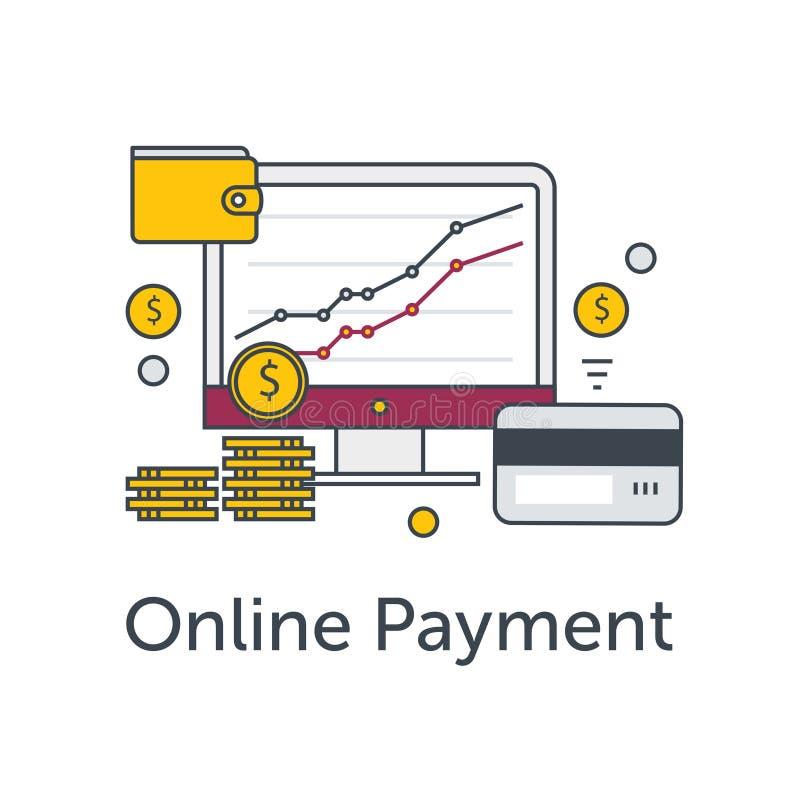 套平的稀薄的线象 电子商务或付款网上例证 与图表、硬币、钱包和信用的显示器 库存例证