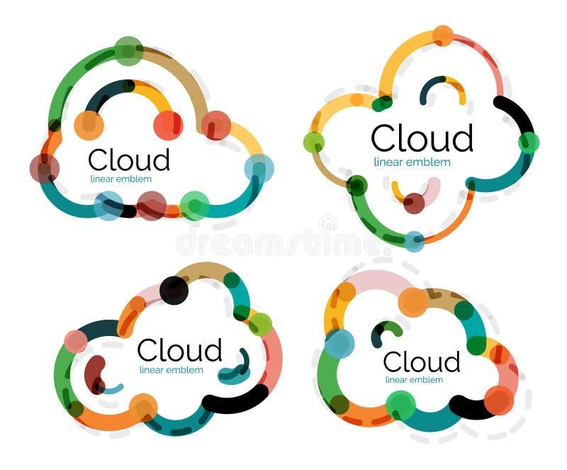 套平的线性设计云彩商标 皇族释放例证
