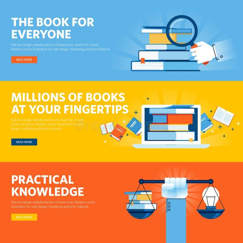 套平的线设计网上书店的, e书网横幅,怎么知道 皇族释放例证
