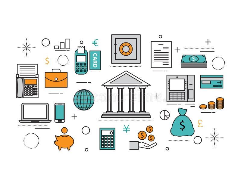 套平的线象& infographic设计观念,财政pl 皇族释放例证