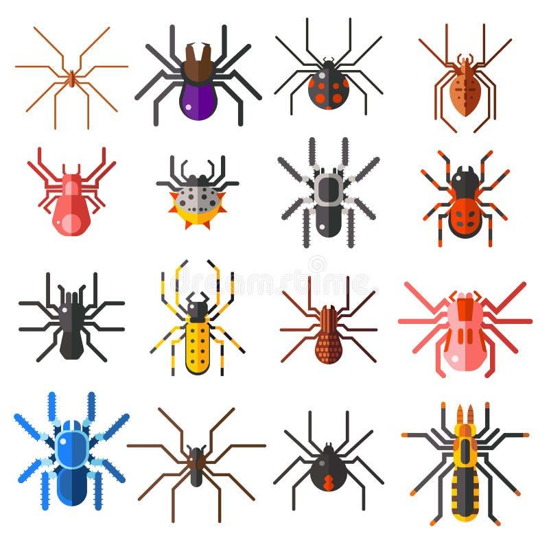 套平的蜘蛛动画片上色了象在白色背景的传染媒介例证 库存例证