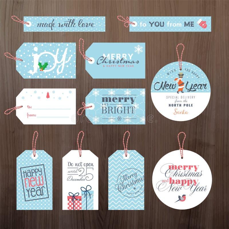套平的设计圣诞节和新年标记 皇族释放例证