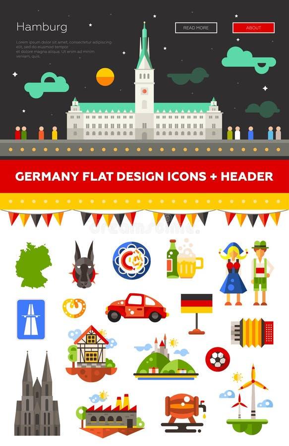 套平的设计德国旅行象 库存例证