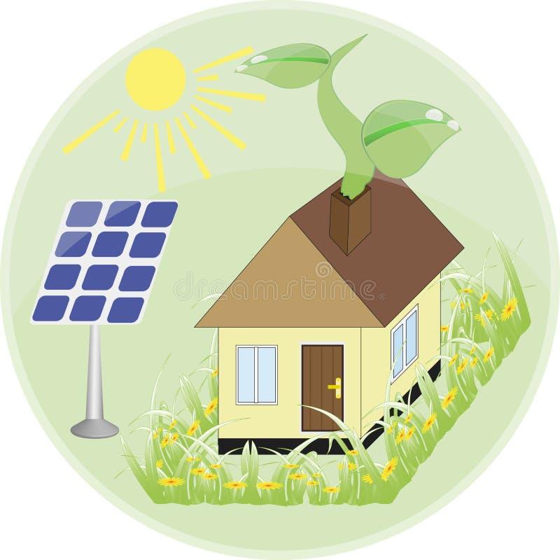 套平的设计观念-绿色能量 太阳电池板,风车,电池,电灯泡 皇族释放例证