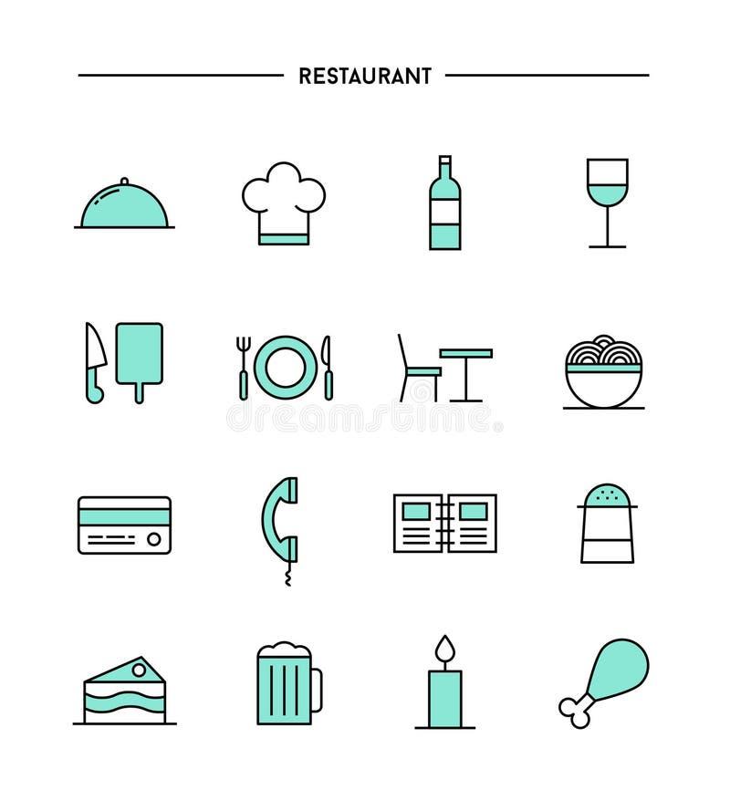 套平的设计,稀薄的线餐馆象 库存例证