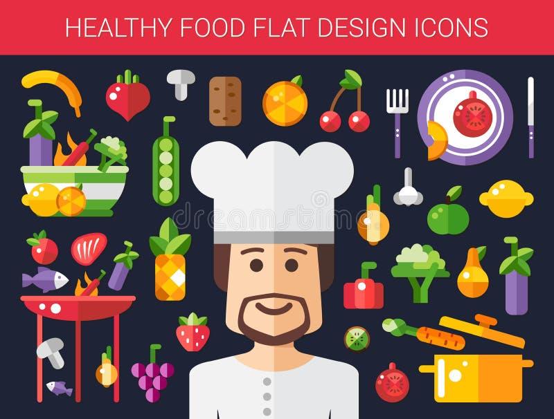 套平的设计水果和蔬菜象 向量例证