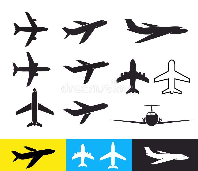 套平面象 飞机现出轮廓平的设计 也corel凹道例证向量 背景查出的白色 库存例证