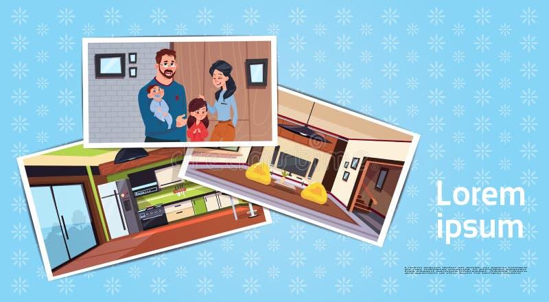 套年轻家庭照片在客厅和厨房买的议院概念的新的家 向量例证