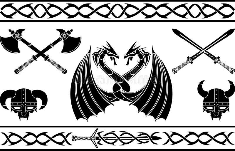 套幻想北欧海盗标志和样式 向量例证
