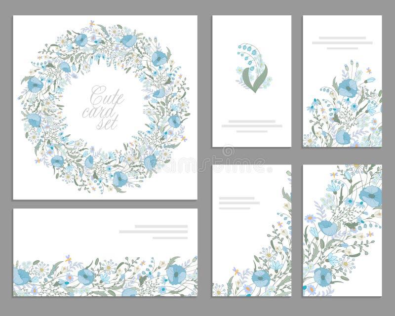 套庆祝的模板,婚姻 蓝色花 水彩蓝色鸦片,百合谷,雏菊, snowdrop 库存例证