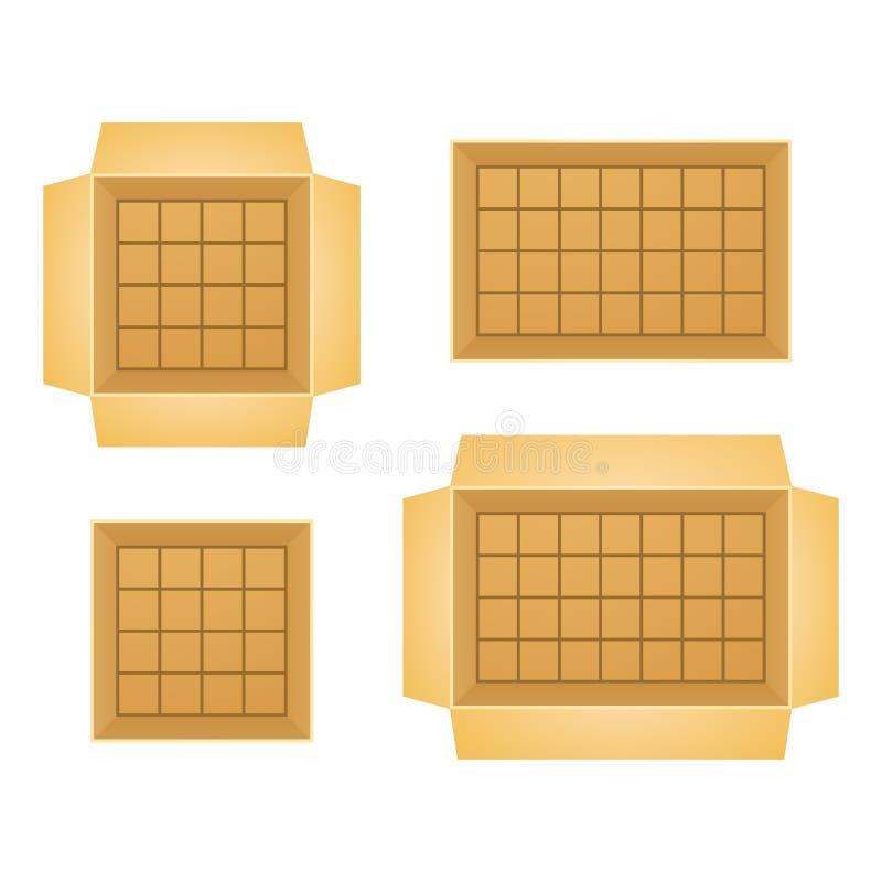 套开放箱子传染媒介例证 向量例证