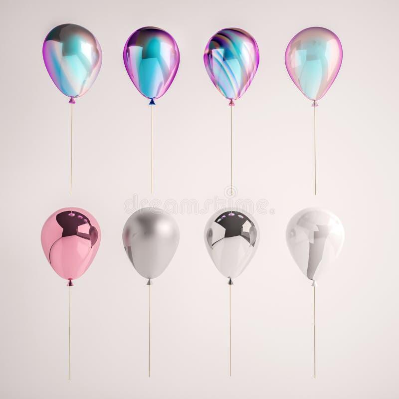 套彩虹色在灰色背景隔绝的全息照相和银箔气球 诞生的时髦现实设计3d元素 向量例证