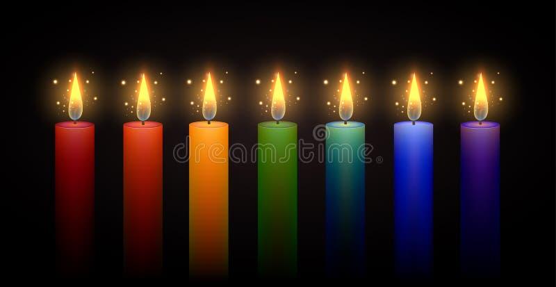 套彩虹蜡烛 向量要素 皇族释放例证
