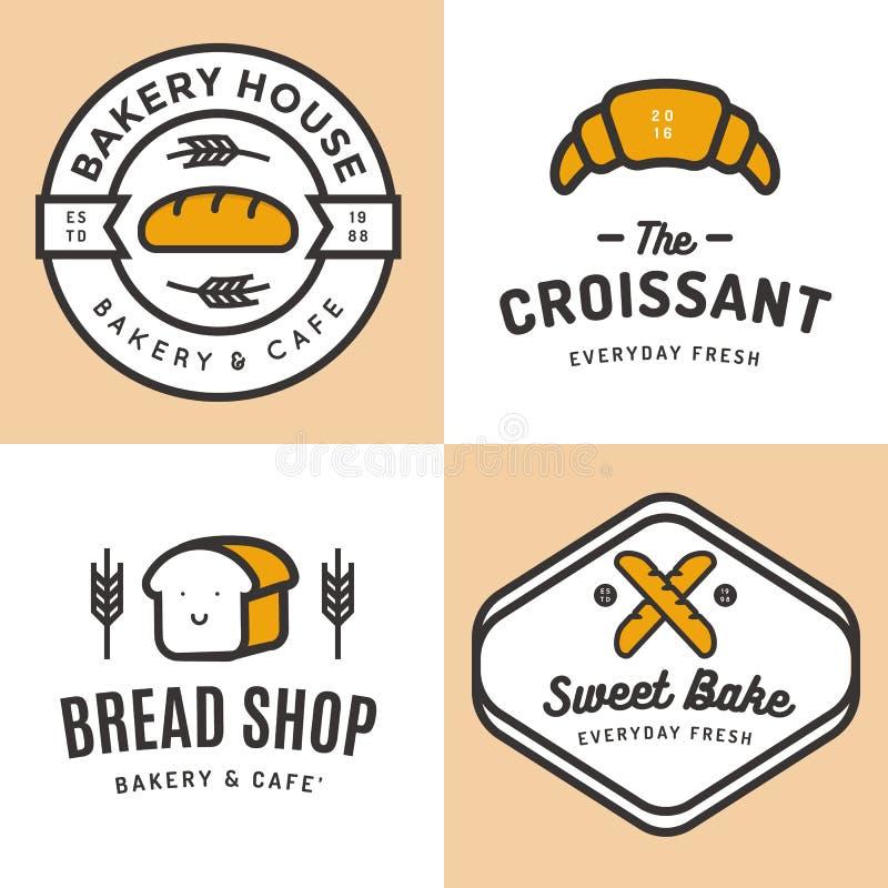 套徽章、横幅、标签、商标、象、对象和元素面包店商店面包的,新月形面包,长方形宝石 皇族释放例证