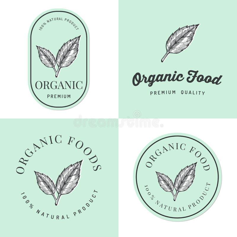 套徽章、横幅、标签和商标有机自然和新鲜食品产品的与手拉的叶子 成套设计 皇族释放例证