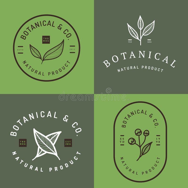 套徽章、横幅、标签和商标植物的自然产品的,商店 叶子商标,花商标 皇族释放例证