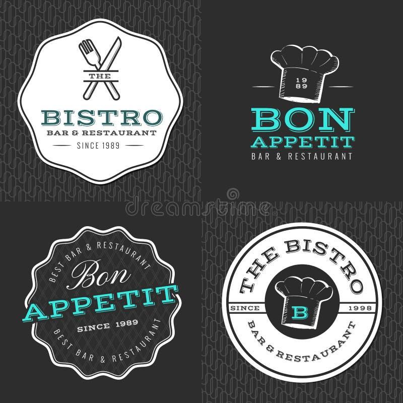 套徽章、横幅、标签和商标食物餐馆的,食物店和承办酒席与无缝的样式 皇族释放例证