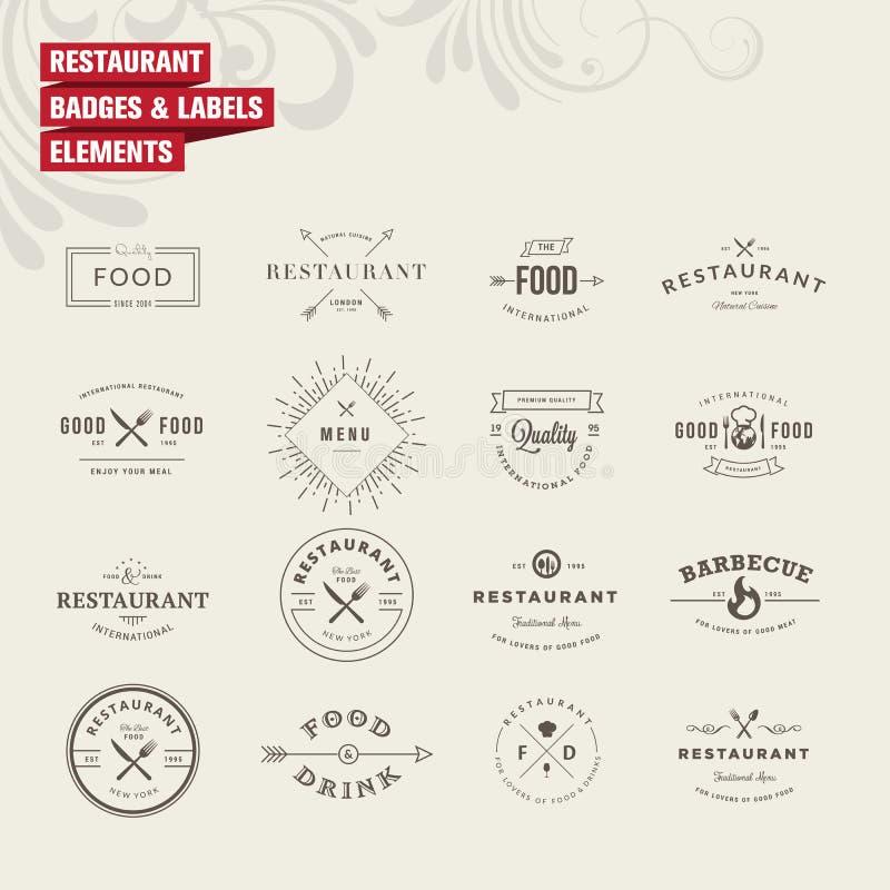 套徽章和标签元素餐馆的 皇族释放例证