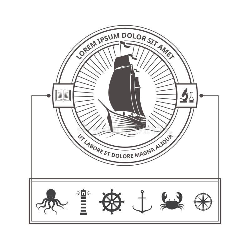 套徽章的船舶象在葡萄酒样式 皇族释放例证