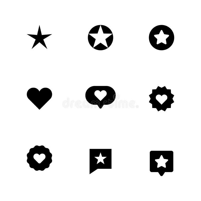 套心脏和星象 喜爱的标志,象,爱 向量例证