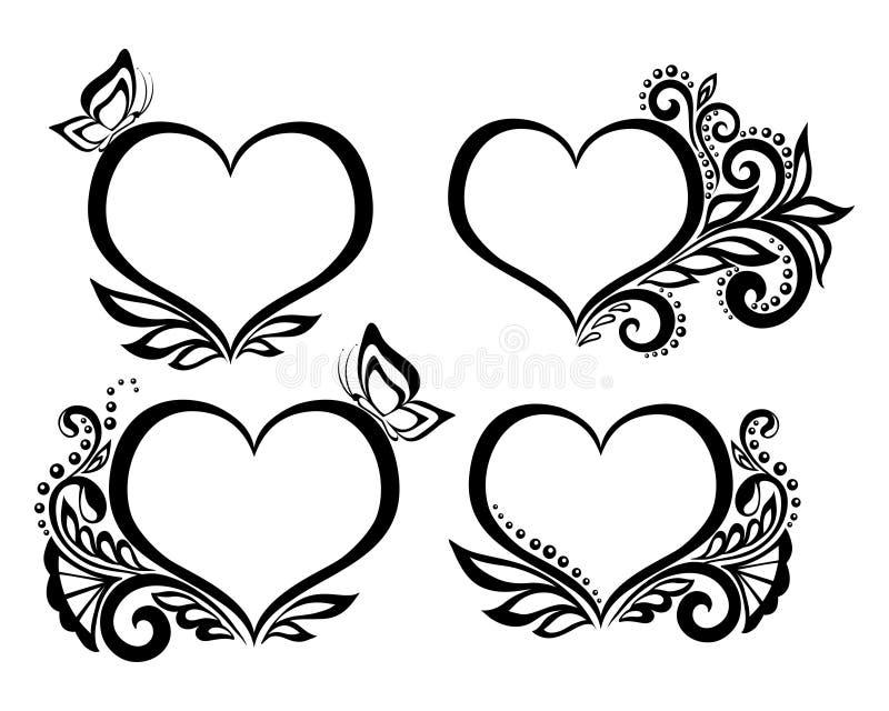 套心脏的美好的黑白标志与花卉设计和蝴蝶的 向量例证