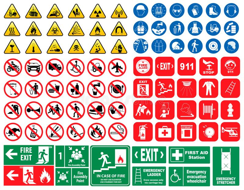 套必须的标志,道路危险标志,禁止了标志,火紧急标志 皇族释放例证