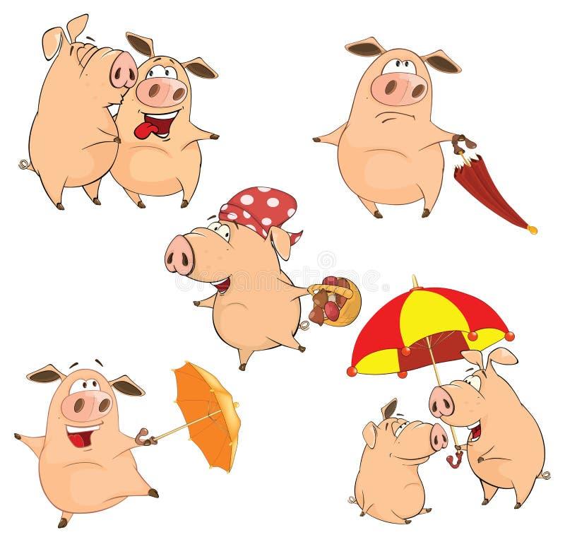 套快乐的猪动画片 库存例证