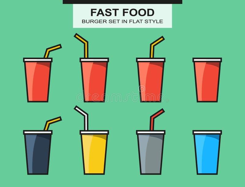 套快餐杯子,在平的样式的不同的颜色 向量例证